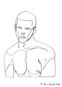 """Gaze 474″, continuous line drawing by Boris Schmitz"