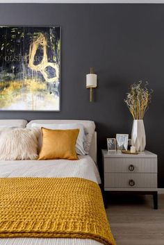 Mustard And Grey Bedroom, Grey And Gold Bedroom, Gray Bedroom Walls, Grey Bedroom Decor, Home Bedroom, Blue And Yellow Bedroom Ideas, Yellow Master Bedroom, Grey Bedroom Colors, Gold Bedroom Accents