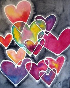 Colourful Hearts♥️ Of Love ♥️ - Digital Artwork - For Children - Muttertag Kunstjournal Inspiration, Heart Painting, Giraffe Painting, Valentine Day Crafts, Art Classroom, Heart Art, Whimsical Art, Art Plastique, Art Activities