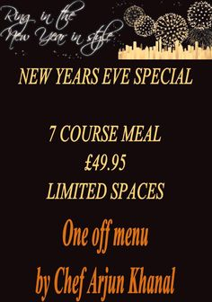 Eve Special at the Arbour. Limited spaces available. for a great new years eve meal. 7 courses only 7 Course Meal, New Years Eve Food, Arbour, Art Quotes, Spaces, Meals, Meal, Yemek, Food