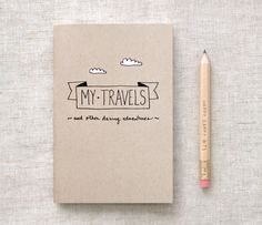 Travel Journal & Pencil Set, Recycled Pocket Size Notebook - My Travels and Daring Adventures - Brown White Clouds. $8.00, via Etsy.