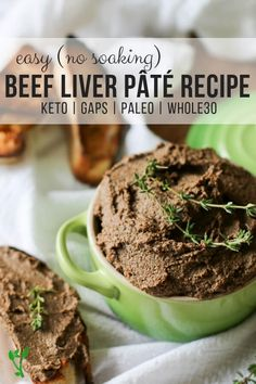 Easy Beef Liver Pâté Recipe Paleo GAPS Keto) -This Beef LiverPâté recipe is so easy - doesn't require soaking and yet full of flavor (not the liver-ey kind). Pate Recipes, Liver Recipes, Paleo Recipes Easy, Beef Recipes, Real Food Recipes, Cooking Recipes, Dip Recipes, Chopped Beef Liver Recipe, Liver Pate Recipe Beef