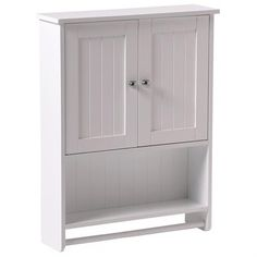 White New Bathroom Wall Mount Over Medicine Cabinet 2-Door Toilet Storage Shelf W25