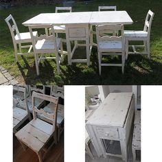 Det sødeste svensk spise klap bord fra 1800 tallet med 6 stole - forvandlet fra afsyret og lakeret - til det slidt look med 2 x Old White og slebet med el sliber og vokset med lys voks - nu klar til et fornyet liv i dette århundrede.
