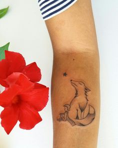 Little prince fox tattoo. Fineline.