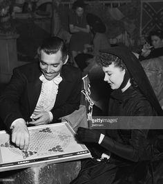 """Clark Gable & Vivien Leigh between filming scenes for """"Gone with the wind"""""""