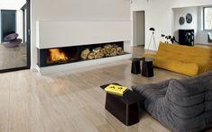 Bodenfliesen in Holzoptik wohnzimmer iris kamin minimalistisch