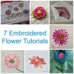 7 Embroidered Flower Tutorials
