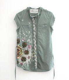 Embroidered summer shirt Upcycled clothing Eco by SaidoniaEco, $37.95