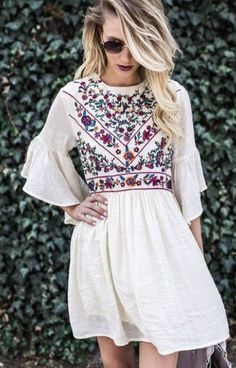 Floral, Lace, Sleeve, Fashion, Dress, Top, Spring