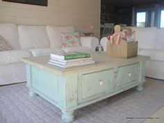 Beautiful shabby chic coffee table by Restyled Vintage--like this color french willow gray. Green Painted Furniture, Refurbished Furniture, Shabby Chic Furniture, Furniture Makeover, Vintage Furniture, Diy Furniture, Bedroom Furniture, Coastal Furniture, Modern Furniture