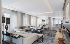 Wohnzimmer Ideen mit abgehängter Decke-indirekte Beleuchtung-Penthouse in Berlin