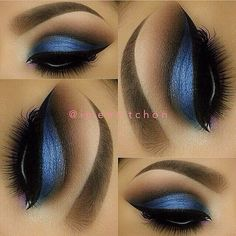 a blue eye makeup look i love a cut crease, and the dark brown is still blended with the transition colour, and so the look is still seamless.