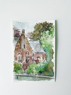 Original watercolor painting of landscape with house and trees.