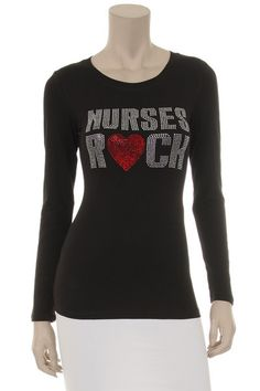 Nurses Rock! Cotton Long Sleeve Rhinestone T-Shirt (Handmade Material) Comes in White and Black #handmade #etsyretwt