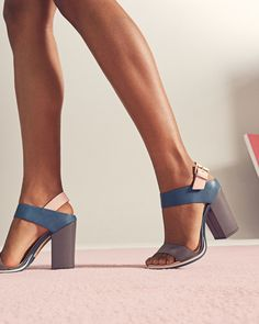 Colour block sandals - Mid Gray | Shoes | Ted Baker