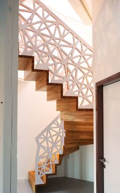 vue générale escalier mezzanine chêne multi-plis bouleau