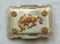 Vintage Lyntone Nickel Silver Cowboy Cowgirl Horse Western Belt Buckle | eBay