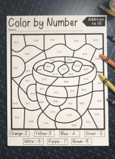These winter color by number worksheets are great for building math fact fluency. Using these color by number subtraction and addition pages will provide a fun and engaging way for students to develop automaticity with their math facts within 10.   All kids love to coloring pages, even the big ones, so this is the perfect tool for continued fact practice.  Use these as morning work, math center activities, homework, or as a fast finisher Preschool Number Worksheets, Fun Worksheets For Kids, Math Coloring Worksheets, Math Activities For Kids, Numbers Preschool, Math For Kids, Fun Math, Activity Sheets For Kids, Christmas Color By Number