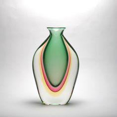 Murano Vase Amber/Emerald/Red