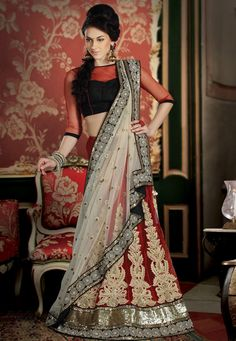 Red Net  Pure Georgette #Lehenga Style #Saree With #Blouse.