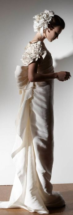 I'd love it without the flower arrangements on the head and shoulder. lanvin bridal    jaglady
