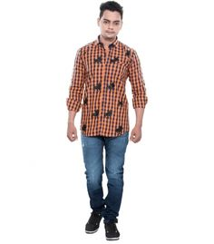 Grey Booze Orange Casual Slim Fit Shirt
