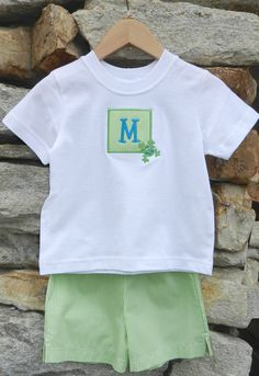 Today's T-shirt and short set for boys features a classic check gingham in lime and white. The 100% cotton white T-shirt has an appliqué with a gingham background and is customized with a blue initial for your little man to stand out from the crowd. Sizes: 12m, 18, 2, 3, 4 & 5. Was: $58 Now: $30 (includes appliqué with embroidered initial). Visit www.facebook.com/jdoriginals to purchase.