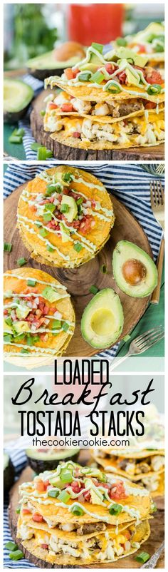 Four Kitchen Decorating Suggestions Which Can Be Cheap And Simple To Carry Out Loaded Breakfast Tostada Stacks These Fun And Crispy Breakfast Tostadas Are Loaded With Egg, Cheese, Sausage, And Avocado Makes For Perfect Mornings Savory Breakfast, Breakfast Items, Breakfast For Dinner, Breakfast Dishes, Best Breakfast, Breakfast Recipes, Cooking Recipes, Healthy Recipes, Healthy Meals