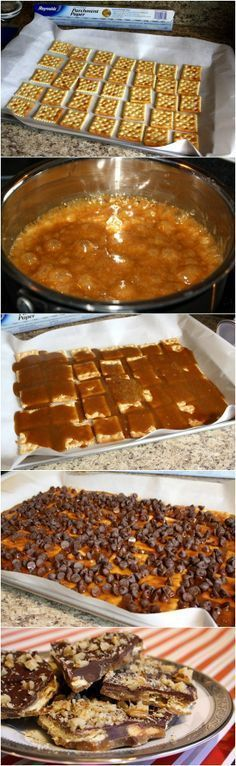This is the best Recipe for Cracker Toffee. Can also use Club crackers and Ritz. I prefer the Club crackers. I do not put back in oven after I put chips on top. They melt just fine, and then you spread them around.
