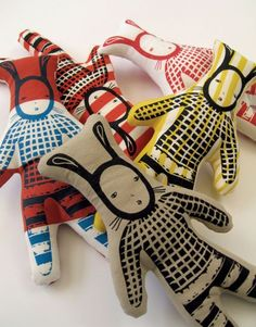 rabbit softies screen printed illustration of these rabbits is superb great art lover/scandi minimalists plushie