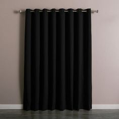 Best Home Fashion Wide Thermal Grommet Blackout Curtain Black - GROM_WIDE-100X108-BLACK