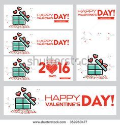 Happy Valentine Day Blue Gift Box, Hearts Illustration Set - stock vector