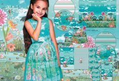 Digitrikoo raporttina: Flamingo, lämmin turkoosi, 120 cm korkea   Majapuu Flamingo, Floral, Skirts, Flamingo Bird, Flowers, Flamingos, Skirt, Flower
