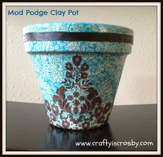 Decoupaged Clay Pot
