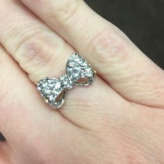 White Gold Plated Bow Ring