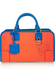 The Loewe 'Amazon' bright orange, bright blue & green textured bag can brighten up any look $2,159, get it here:  http://rstyle.me/~1O3zi