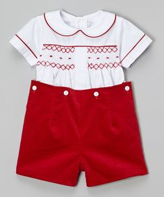 White & Red Hand-Smocked Button-On Shorts & Top - Infant