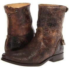 Frye Melissa Button Zip Short Women's Zip Boots, Bronze ($208) ❤ liked on Polyvore featuring shoes, boots, ankle booties, ankle boots, bronze, cuffed ankle boots, platform bootie, strappy booties and low heel booties