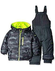 Osh Kosh Boys' Snowsuit With Puffer Coat: Two piece heavyweight snowsuit with classic puffer coat Motorcycle Jacket, Bomber Jacket, Snow Wear, Snow Suit, Boy Fashion, Little Boys, Latest Fashion Trends, Canada Goose Jackets, Camo