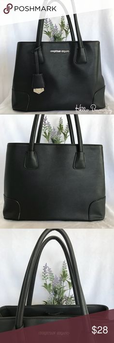 "Christian Siriano Lianna Tote in Black 🐰 Black Lianna tote by Christian Siriano is stylish yet functional and great for keeping you organized through out your busy day. Two side compartments, one has a zippered pocket, the other has two pockets and there's even a hidden zippered center compartment. Cute black and white lining.  Bag stands up on its own and can be carried on your arm or on your shoulder but it's a bit snug.  Used for work but still in great condition. Top of bag 12"" across…"