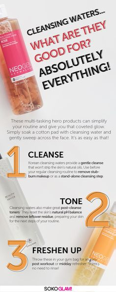 Korean cleansing waters provide a gentle cleanse that won't leave skin tight. Similar to micellar water, use before your regular cleansing routine to remove stubburn makeup and sunscreen, or as a stand-alone cleansing step. Cleansing waters also make great post-cleanse toners! They reset the skin's natural pH balance after cleansing and remove any leftover makeup or residue, prepring your skin for the next steps of your skincare routine. They are a great way to prime your face for makeup!
