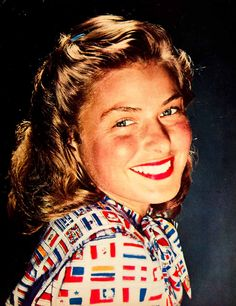 1946 Color Print Ingrid Bergman Portrait Swedish Film Actress Hollywood YMS2 - Period Paper