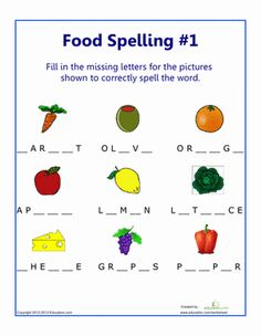 Second Grade Spelling Worksheets: Food Spelling #1