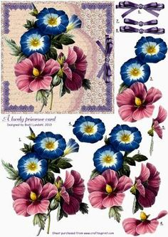 """A lovely Primrose card on Craftsuprint designed by Bodil Lundahl - This design is no. 3 in a serie of five with vintage flowers taken from old books or postcards. I think these old drawings and paintings are so beautiful that they deserve not to be hidden in drawers or boxes, and therefore I have given them a new """"vintage-like"""" background. They'll all make very, very pretty cards which can be used for what ever occasion you may like. The cutting is maybe not the easiest part of it, but the…"""