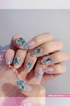 nailbox 원장 ✌ in 2020 Asian Nail Art, Asian Nails, Korean Nail Art, Gem Nails, Diamond Nails, Bling Nails, Hair And Nails, Shellac Nail Designs, Cute Nail Designs