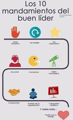 Los 10 Mandamientos de Un Buen Lider Mundo Marketing, Content Manager, Human Resources, Personal Branding, Business Tips, Leadership, Digital Marketing, Teamwork, Life Quotes