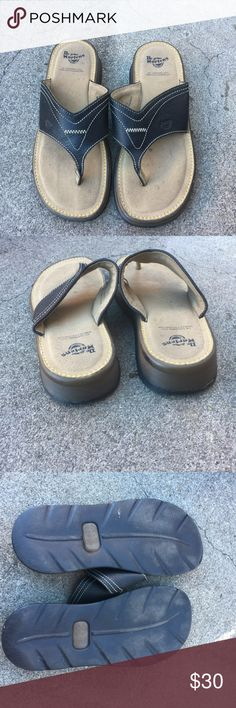 Dr Martens flip flops EUC black and brown shades with cream stitching. NICE LEATHER with gum sole Dr. Martens Shoes Sandals & Flip-Flops