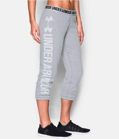 under armour favorite fleece capri - true gray heather/white. $49.99.