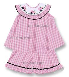 Smocked Pink Tractor Girl's Short Set New Size 4t  #TheBubbleBee